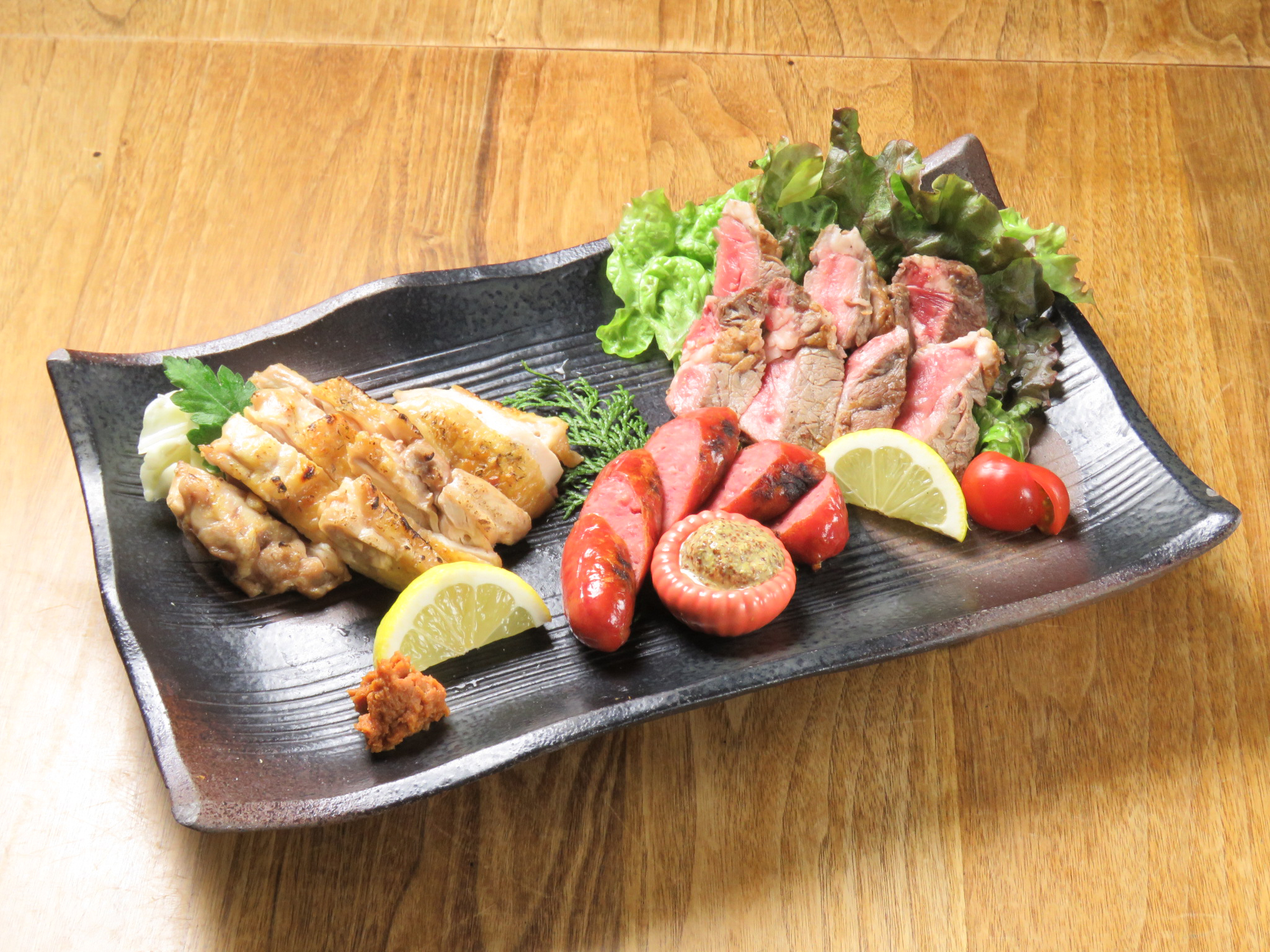 Charcoal grilled assorted platter